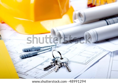 Architecture Plans and tools and keys - stock photo
