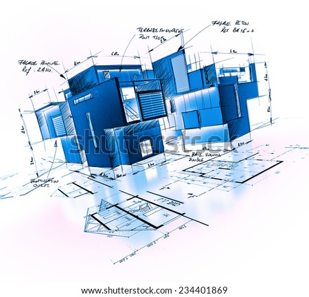 Architecture project with notes and writings in blue shades - stock photo