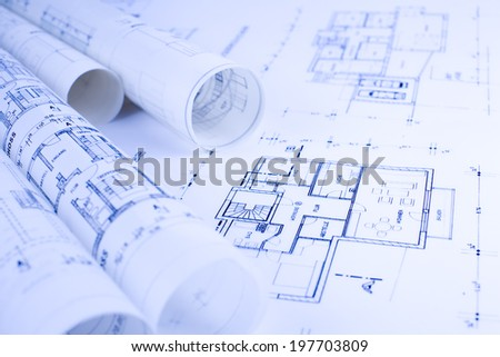 architecture sketches objects - stock photo