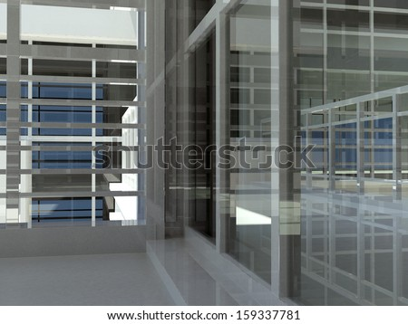 Architecture: staircase and windows. 3d render. Interior