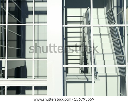 Architecture: staircase and windows. 3d render. Top view