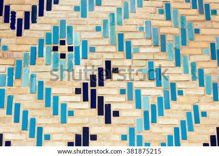 architecture, tile, islamic, pattern, decoration, majolica, blue, wall, background, east, texture, traditional, old, art, ancient, mosque, asia, mosaic, design, landmark, door, turquoise, decor - stock photo