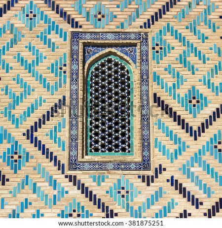 architecture, tile, islamic, pattern, decoration, majolica, blue, wall, background, east, texture, traditional, art, ancient, mosque, asia, mosaic, design, landmark, door, turquoise, decor, windows - stock photo