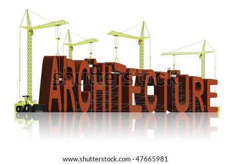 architecture under construction in 3D words the creation of the architect building a house or apartment block project