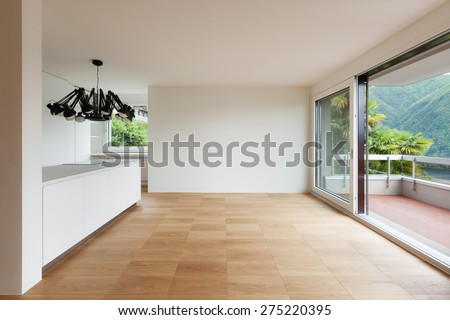 Architecture, white domestic kitchen of a new apartment - stock photo