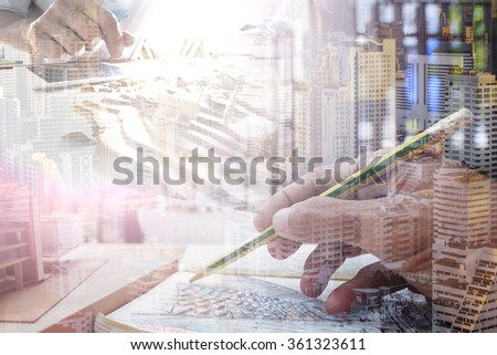 Architecture working at construction site. - stock photo