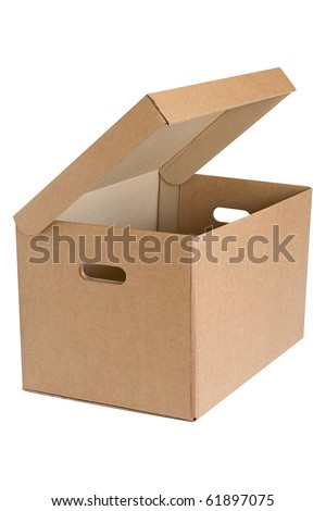 Archival cardboard box with the lid open - stock photo