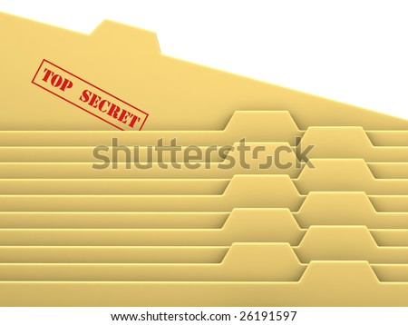"Archive bookmarks of card index with ""top secret"" tab - stock photo"