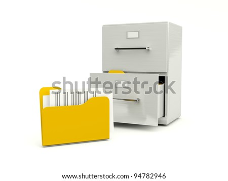 Archive cabinet with folders isolated on white - stock photo