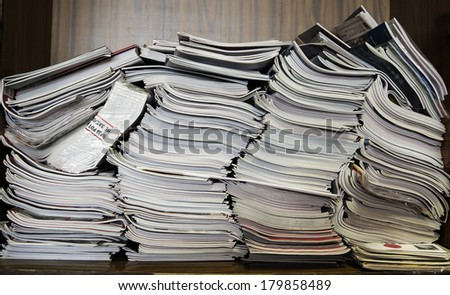 Archive documents and magazines - stock photo