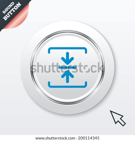 Archive file sign icon. Compressed zipped file symbol. Arrows. White button with metallic line. Modern UI website button with mouse cursor pointer.