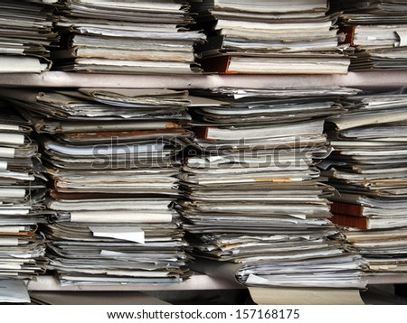 archive folders with documents - stock photo