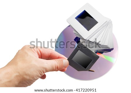 archive of old slides to DVD Digital - stock photo