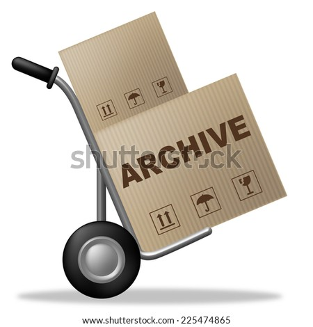Archive Package Showing Shipping Box And Catalogue - stock photo