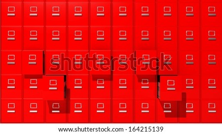 Archive red cabinets 3D render - stock photo