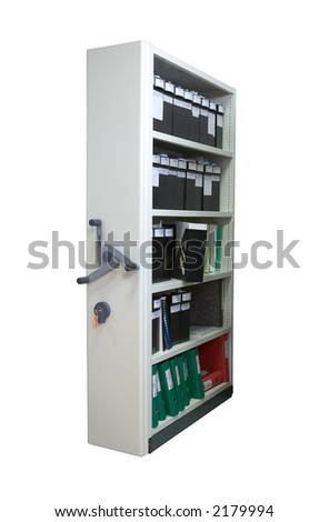 Archive storage with clipping path and white background - stock photo
