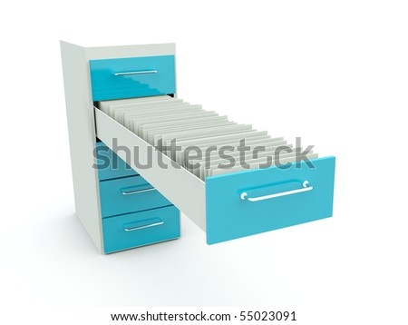 Archive with documents isolated on white