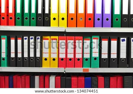 Archive with paper folders or files. - stock photo