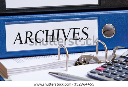 Archives - blue binder in the office - stock photo