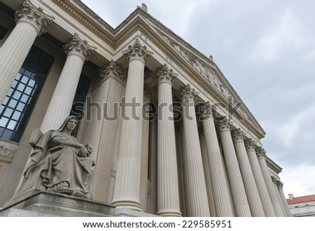 Archives of the United States Building in Washington DC as viewed up-close. - stock photo