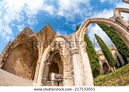 Archs at Bellapais Abbey. Kyrenia district. Cyprus - stock photo