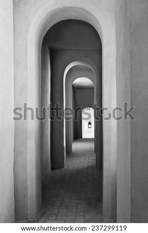 Archway in a medieval castle in Spain - stock photo