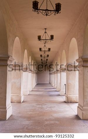 Archway in Balboa Park, San Diego, California, USA - stock photo