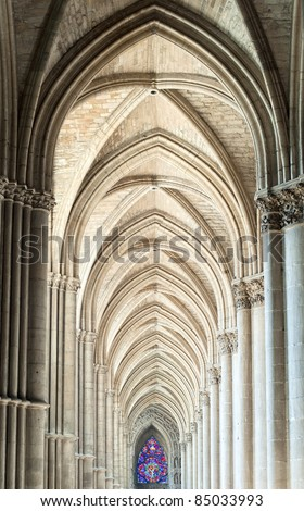 Archway in the gothic cathedral of Reims, France - stock photo
