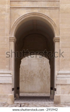 Archway of a building in Paris, France,