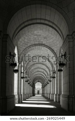Archway of Union station in Washington DC - stock photo