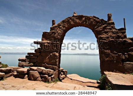 Archway on Taquile Island, Lake Titicaca Peru - stock photo