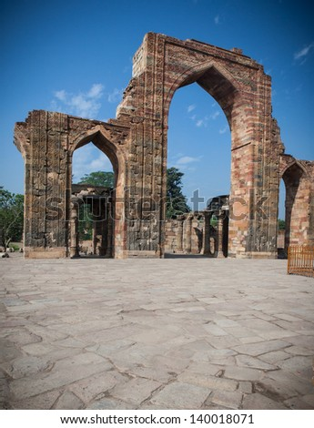 Archway structures at Qutub Minar in New Delhi, India - stock photo