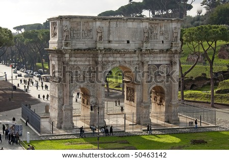 Arco Di Costantino (Arch of Constantine) in Rome seen from the Colosseum, Italy. Erected to commemorate Constantine I's victory over Maxentius at the Battle of Milvian Bridge on October 28, 312.T