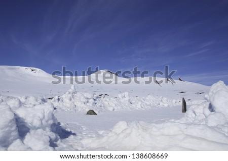 Arctic circle in Norway - stock photo