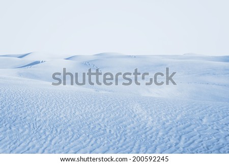 Arctic desert. winter landscape with snow drifts. - stock photo