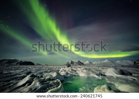 Arctic frozen fjord in Moonlight. Northern Lights across the sky. - stock photo