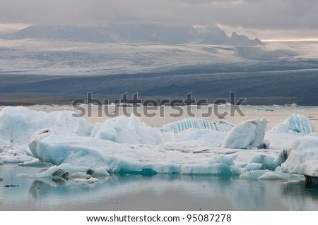 arctic glacier lake in Iceland - effect of global warming - stock photo