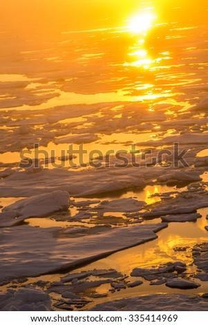 Arctic ice in Polar ocean in golden sunset lightning  - stock photo