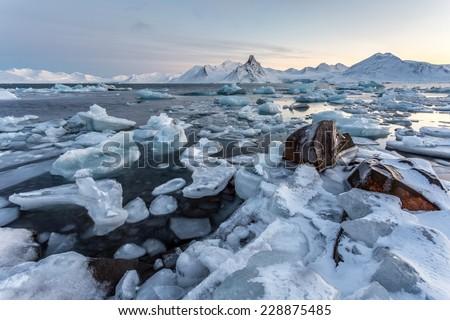 Arctic ice landscape - Spitsbergen - stock photo