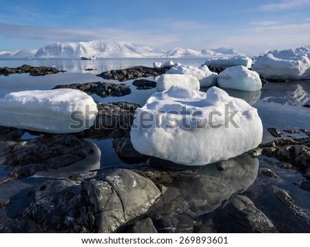 Arctic landscape - ice, sea, mountains, glaciers - Spitsbergen, Svalbard - stock photo