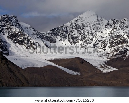 Arctic landscape of Svalbard  fjord - stock photo