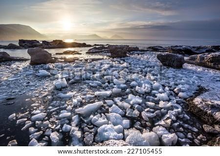 Arctic landscape with glacier ice - stock photo