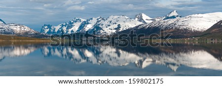 Arctic mountains and fjord in northern Norway at summer