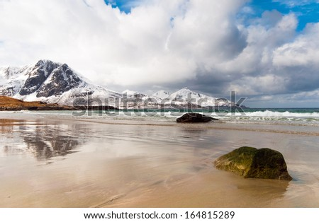 Arctic mountains and fjord in northern Norway at summer  - stock photo