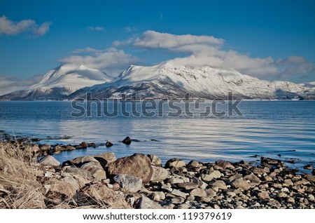 Arctic Norway Fjords. The Island of Kvaloya, Near Tromso in the Far North of Norway