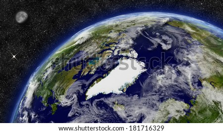 Arctic region on planet Earth from space with Moon and stars in the background. Elements of this image furnished by NASA. - stock photo