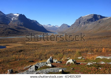 Arctic valley in beautiful autumn colors.