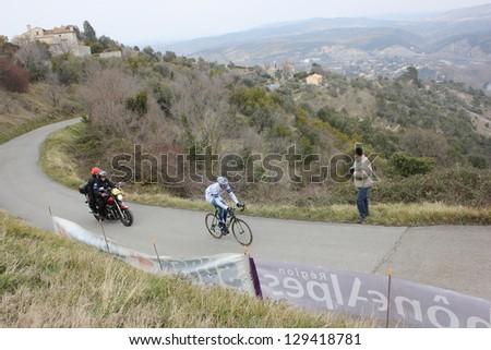 "ARDECHE, FRANCE - FEB 24: Matthieu Sprick, Argos Shimano riding UCI Europ TOUR ""LES BOUCLES DU SUD ARDECHE"". Matthieu Drujon wins the race on February 24, 2013 in Sampzon Rock, Ardeche, France. - stock photo"