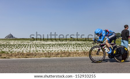 ARDEVON,FRANCE-JUL 10: The American cyclist Andrew Talansky from Team Garmin-Sharp cycling during the stage 11 (time trial Avranches -Mont Saint Michel) of Le Tour de France on July 10, 2013