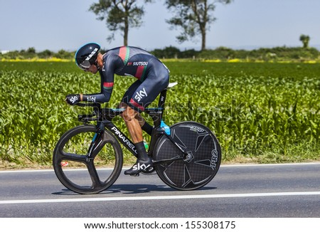 ARDEVON,FRANCE-JUL 10:The Belarusian cyclist Kanstantsin Siutsou from Team Sky cycling during the the stage 11 (time trial Avranches -Mont Saint Michel) of Le Tour de France on July 10, 2013 - stock photo